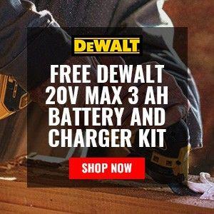 FREE DEWALT 20V MAX 3 Ah Battery and Charger Kit