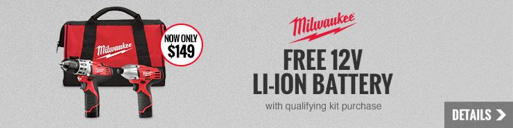 FREE Milwaukee 12V Li-Ion Battery
