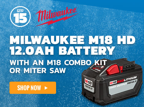 FREE Milwaukee M18 HD 12.0ah Battery