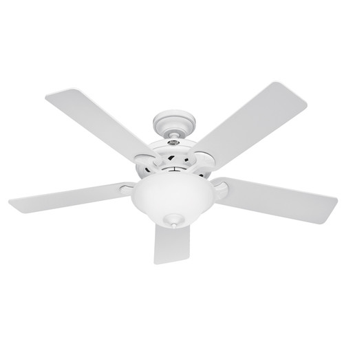 Hunter H22390 52 in. White Ceiling Fan with Light